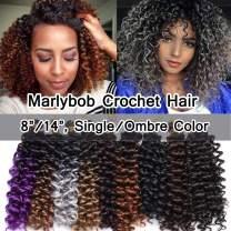SEGO Jerry Curl Crochet Hair Bundles Marlybob Crochet Hair 8 Inch Kinky Curly Water Wave Crochet Hair Braids For Black Women Bohemian Curl Crochet Hair Extension Synthetic Medium Brown 3 Bundle