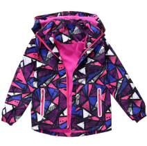 Hiheart Girls Boys Waterproof Fleece Lining Jacket Hood Windproof Rain Coat