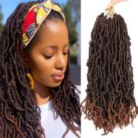 18 Inch Wavy Faux Locs Crochet Hair 7 Packs Wavy Goddess Locs Crochet Braids Pre-Looped Faux Locs African Roots Dreadlocs Synthetic Hair Extension Soft Locs Braiding Hair for Women(18strands/pack;T30#)