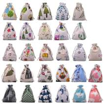 eZAKKA Empty Sachet Gift Bags Burlap Bags Storage Linen Bag Pouch with Drawstring for Wedding Party Shower Birthday Christmas DIY Craft, 28 Pieces
