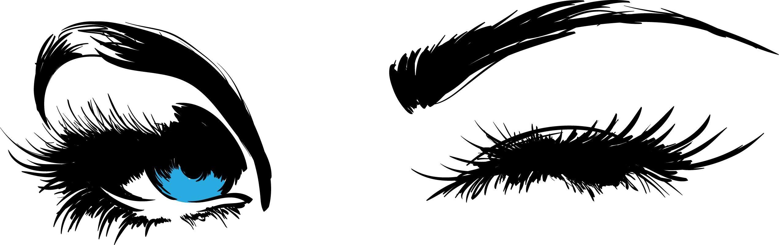 "ChicWalls Removable Custom Eyes Eye Brow Silhouette Wall Art Decor Decal Vinyl Sticker Mural Salon Bedroom Living Room 40"" X 13"" Ice Blue"