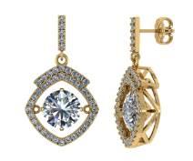 NANA Square Halo Dancing Stone Dangle Earrings Sterling Silver made with Swarovski Zirconia