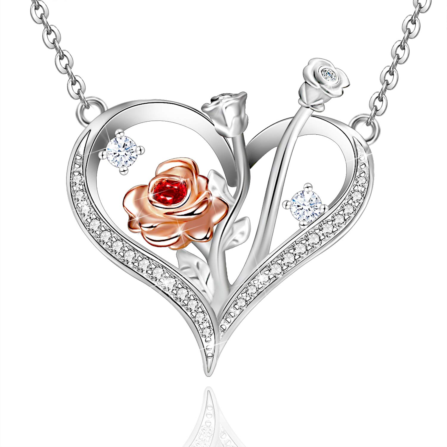 Distance Rose Necklace for Women 925 Sterling Silver Love Heart Rose Flower Necklaces for Family Friend Mother Daughter