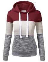 Doublju Basic Lightweight Pullover Hoodie Sweatshirt for Women