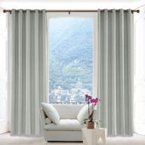 Macochico 120W x 102L Inch Sand White Faux Linen Curtain Drapes with Blackout Lining Antique Bronze Grommet, Room Darkening Panels for Sliding Glass Door Living Room Office (1 Panel)