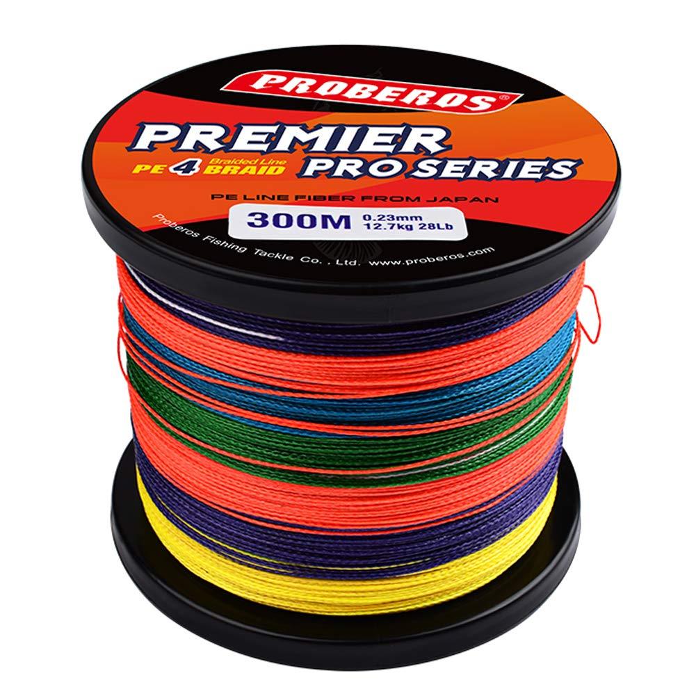 PROBEROS Braided Fishing Line - 4 Strands PE Superbraid Multifilament Braid Superline Abrasion Resistant Wire