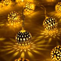 YUNLEX Globe String Lights, Decorative Moroccan Orb, Party Hanging Lights, 40 Golden Metal Balls, Bright Warm Light, Battery Powered,for Indoor, Bedroom, Party, Wedding, Christmas UMSL01G