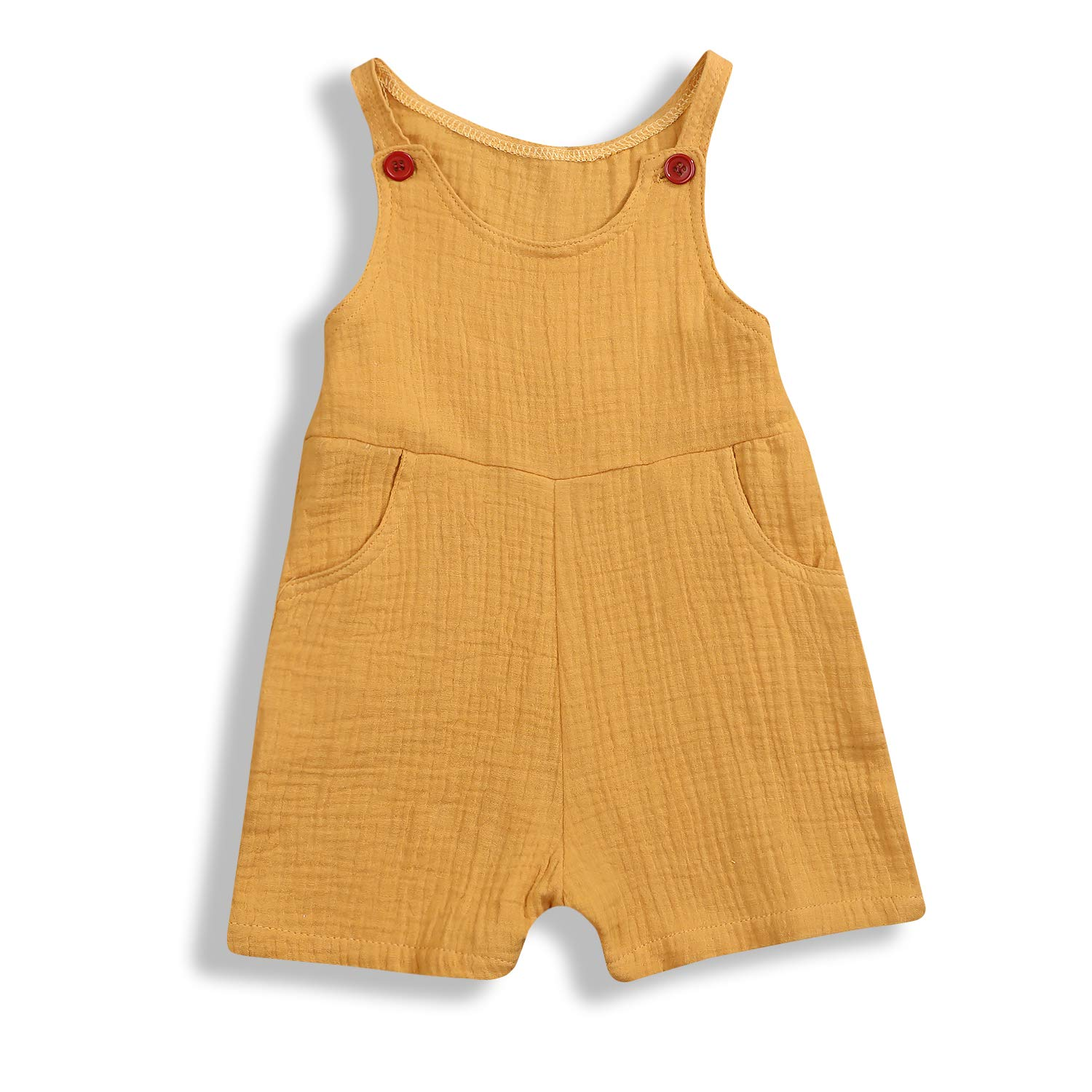 Toddler Baby Boys Girls Romper Pure Color Cotton Linen Sleeveless Overalls Jumpsuit Summer Outfits Clothes 0-2T Yellow