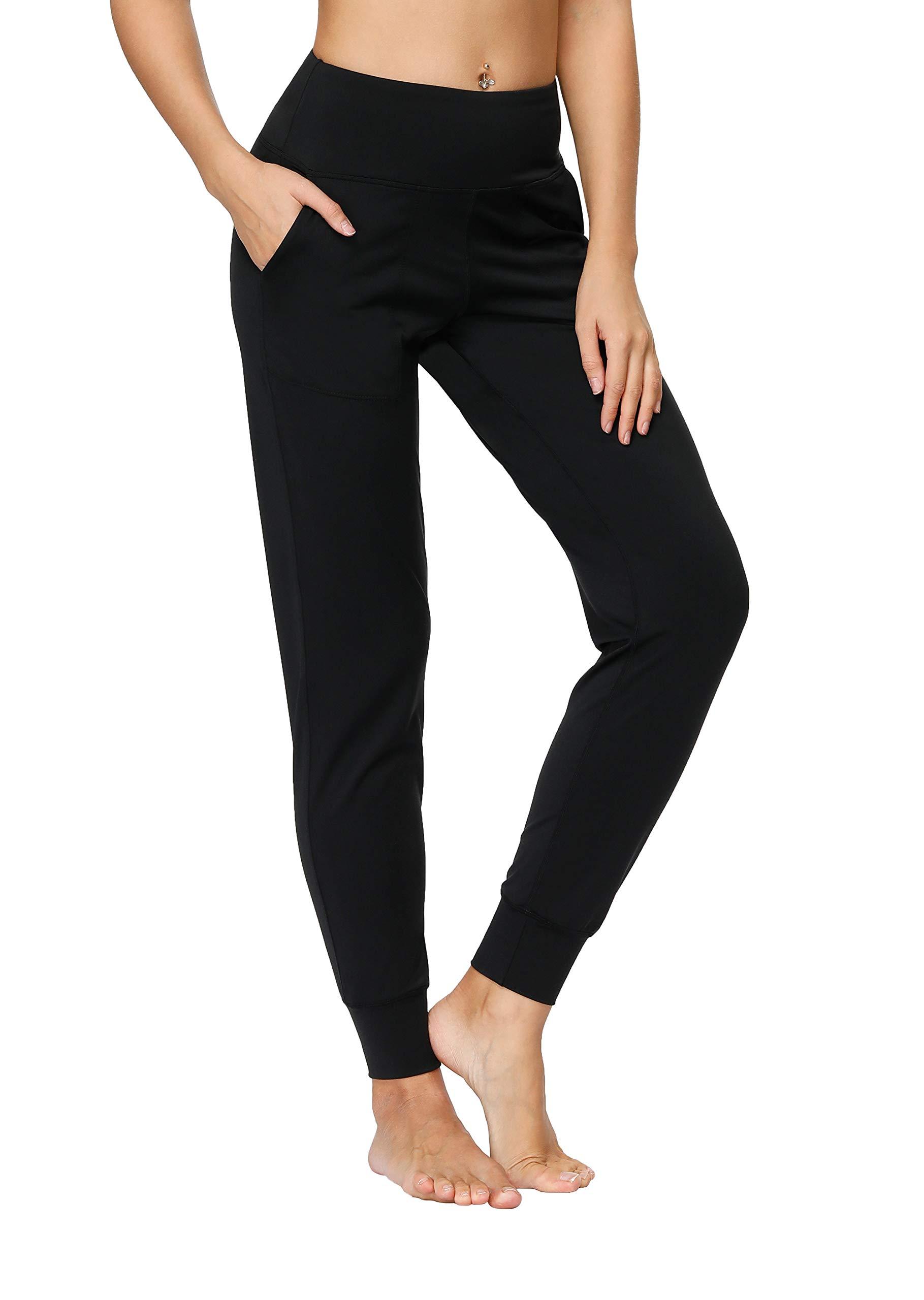 Tsuretobe Womens Joggers Pants with Pockets High Waist Active Yoga Sweatpants Workout Tapered Lounge Pants
