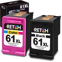 RETCH Re-Manufactured HP Ink Cartridge 61 Replacement for HP 61XL 61 XL for Envy 4500 5530 5534 5535 Deskjet 1000 1010 1510 1512 2540 3050 3510 3050A Officejet 2620 4630 (1 Black 1 Tri-Color)