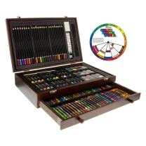 U.S. Art Supply 143 Piece-Mega Wood Box Art, Painting & Drawing Set, Now Contains a Bonus Color Mixing Wheel