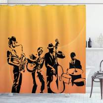 """Ambesonne Jazz Music Shower Curtain, Silhouette of Jazz Quartet Performing on Stage Acoustic Passion Old Style Art, Cloth Fabric Bathroom Decor Set with Hooks, 84"""" Long Extra, Mustard Black"""