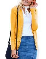 Traleubie Women's Long Sleeve V-Neck Button Down Knit Open Front Cardigan Sweater