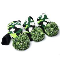 GOOACTION 3PCS Knitted Golf Head Covers 1-3-5 for Driver and Fairway Woods with Long Neck Design Vintage Sock Pom Pom Golf Club Headcovers Set