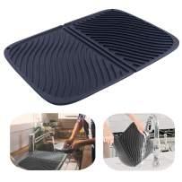 IYYI Silicone Dish Drying Mat Large Draining Mat Eco-Friendly Drainer Mat Heat Resistant Pot Mat Dishwasher Safe Trivet(Black)