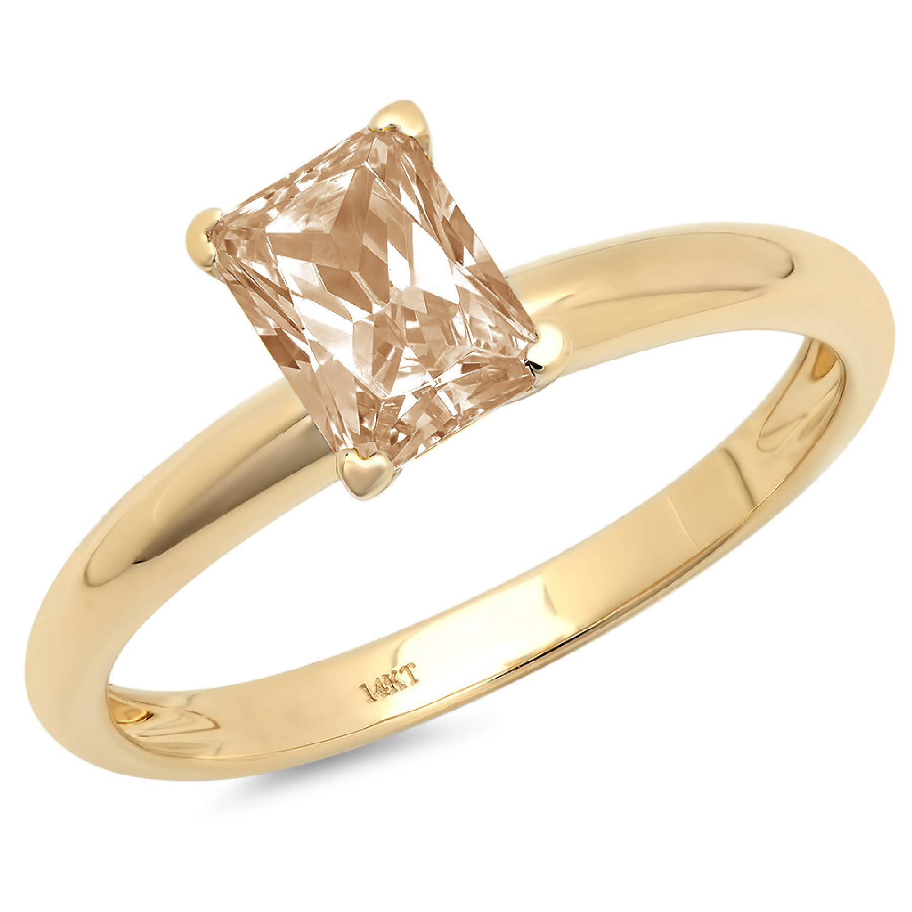 0.95ct Brilliant Emerald Cut Solitaire Brown Champagne Simulated Diamond CZ Ideal VVS1 D 4-Prong Classic Designer Statement Ring Solid Real 14k Yellow Gold for Women