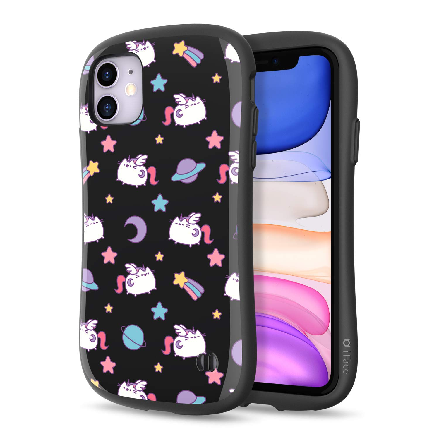 iFace x Pusheen The Cat First Class Series iPhone 11 Case – Cute Dual Layer [TPU and Polycarbonate] Hybrid Shockproof Protective Cover for Women [Drop Tested] - Pusheenicorn Black Pattern
