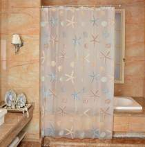 Ufatansy Uforme Sea Star Theme Pattern Shower Curtain Liner Waterproof, 100% Eco-Friendly PEVA Bathroom Curtian Stain Resistant with Rustproof Metal Grommets, Standard Size (72Wx96L)