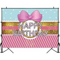 Allenjoy 7x5ft Hot Pink Bowknot Sweet Girls Birthday Surprise Backdrop Gold Glitter Princess Tea Party Background Fashionable Cake Table Banner Photo Studio Booth Props