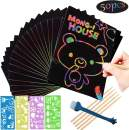 Mordely Scratch Art Papers kit for Kids, 61 Pcs Magic Rainbow Scratch Off Paper Set Scratch Arts Crafts Black Scratch Off Art Notes Boards, 5Pcs Wooden Stylus, 4 Drawing Stencils and 1 Sharpener