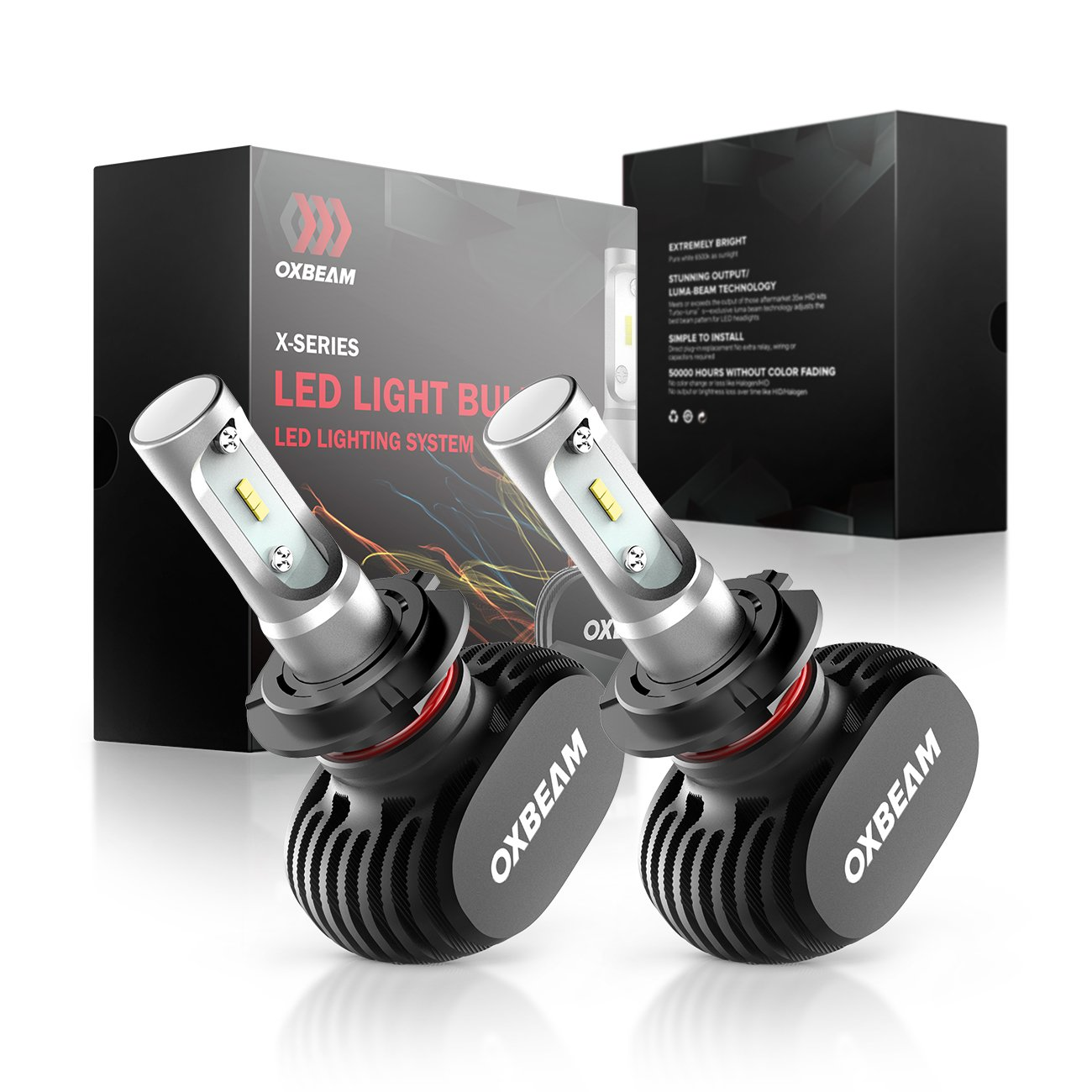 OXBEAM H7 LED Headlight Bulbs 50W 8000 Lumens 6500K AII-in-One Conversion Kit X Series Headlight Bulb Xenon White Extremely Bright (Set of 2)- 1 Year Warranty
