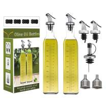 HABOM Glass Olive Oil Bottle Set-17 oz Oil & Vinegar Dispenser Cruet with Pourers and Funnel,Wide Opening for Refill and Cleaning,Oil Bottles Carafe Decanter for Kitchen (Set of 2)