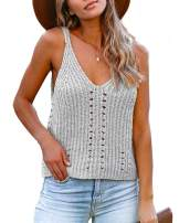Foshow Womens Summer Ribbed V Neck Knit Tank Tops Oversized Racerback Cami Loose Hollow Out Sleeveless Sweater Vest