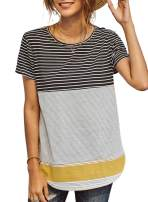 Beiranduo Women Colorblock Patchwork Striped Loose T Shirts Tees Tunic Tops Summer Short Sleeve (S-2X)