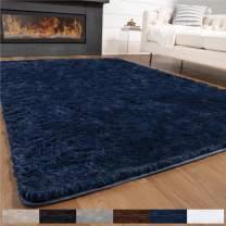 GORILLA GRIP Original Premium Fluffy Area Rug, 4x6 Feet, Super Soft High Pile Shag Carpet, Washer and Dryer Safe, Modern Rugs for Floor, Luxury Home Carpets for Nursery, Bed and Living Room, Dark Blue