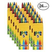 24 Pack Crayons - Wholesale Bright Wax Coloring Crayons in Bulk, 5 Per Box in Assorted Bundle Art Sets (24 Pack)