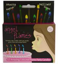Angelflames Birthday Candles with Warm Color Flames for Girls (Red and Purple Flames, 12 per Box, Holders Included)