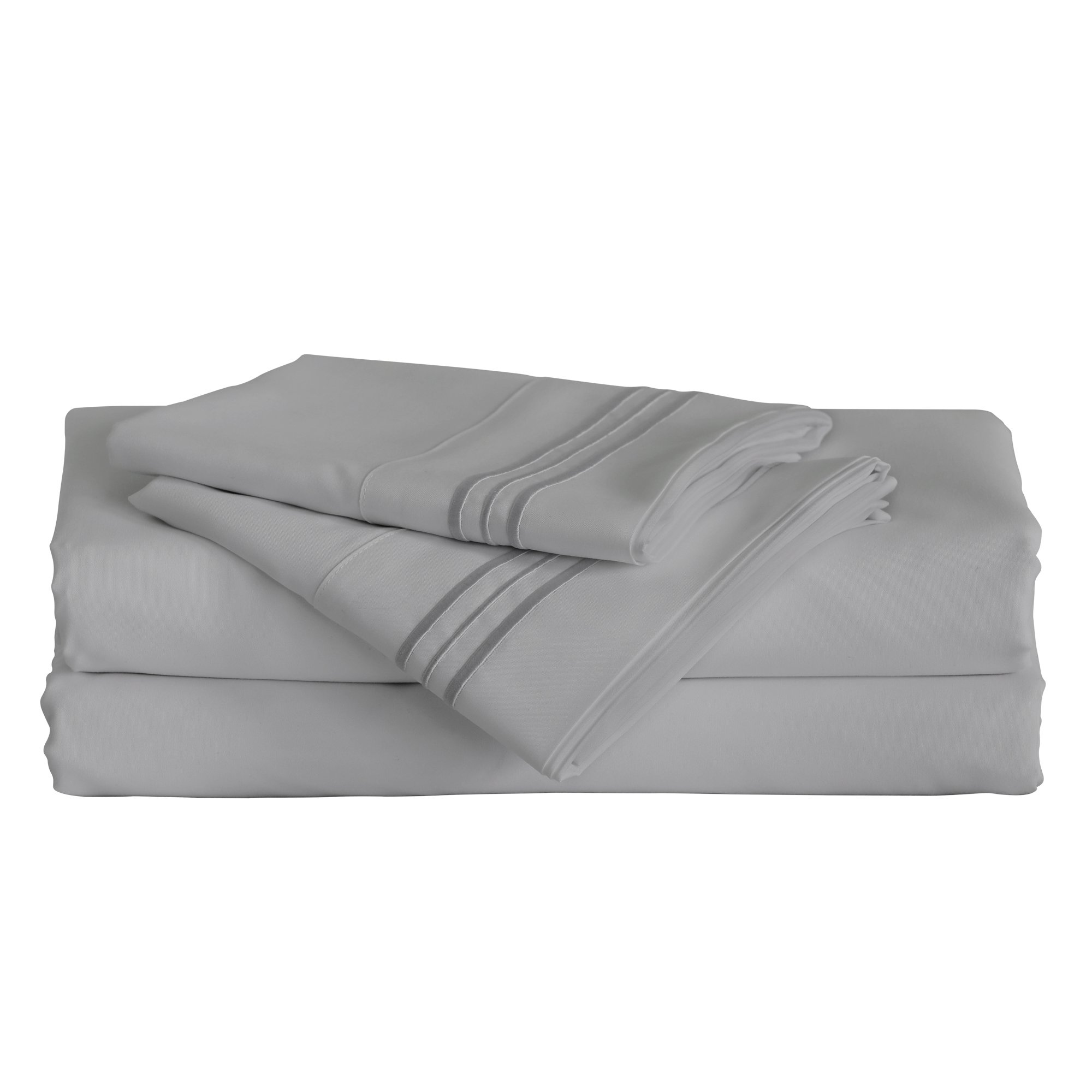 Furinno Angeland Vienne (3 Piece) Microfiber Bed Sheet and Pillowcase Set, Twin, Grey