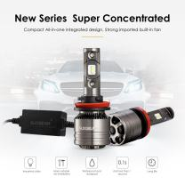 Auxbeam H11 Led Headlight Bulb Led Headlights with 2 Pcs of 70W 7000lm Super Bright LED Chips Conversion Kits F-T1 Series Single Beam with Temperature Control