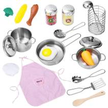 iBaseToy Kitchen Pretend Play Toys, Pretend Cooking Sets for Kids with Stainless Steel Cookware Pots and Pans Play Set, Cooking Utensils, Apron, Chef Hat, Play Foods for Toddlers Boys Girls Children