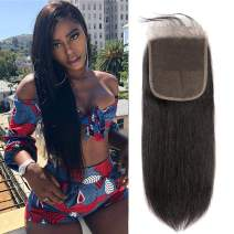 6x6 Lace Closure Straight Wave Free Part Unprocessed Virgin Brazilian Human Hair Lace Pieces With Baby Hair Bleached Knots Wet And Wavy Sew In Hair Extensions Natural Color(20 inch)