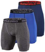 SILKWORLD Men's Compression Running Shorts Cool Dry Active Sports Tights