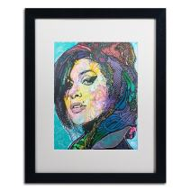 Amy Winehouse by Dean Russo, White Matte, Black Frame 16x20-Inch