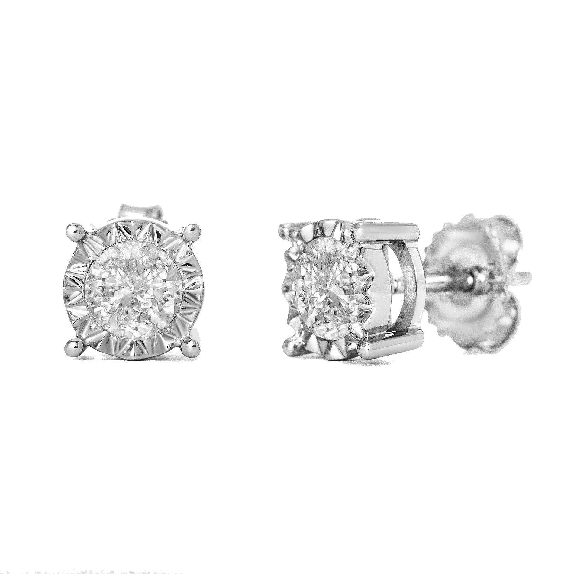 Devin Rose 14K White Gold 1 Cttw Diamond Stud Earrings for Women (IJ Color I2-I3 Clarity IGL Certified)