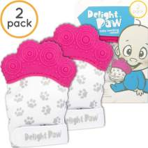 Delight Paw Baby Teething Mitten Mom Designed | Self Soothing Pain Relief | Hygienic Travel Bag | Mittens No BPA | Like Munch Mitt | Baby Boy Baby Girl | Babies 0-12 Months | Precious Pink | 2 Pack