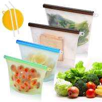 Reusable Silicone Lunch Sandwich Snack Food Bags, Merrynice Food Storage Bags for Kitchen Eco Friendly & Dishwasher Safe, BPA Free, Included 2x Medium, 2x Large, 2x Silicone Straws, 1x Scrubber Sponge
