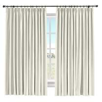 "ChadMade 60"" W x 84"" L Solid Cotton Linen Curtain Panel Pinch Pleated Drape Light Block Curtain Kid Room Drape Bedroom Living Room Sliding Door Panel, (Ivory White, 1 Panel)"