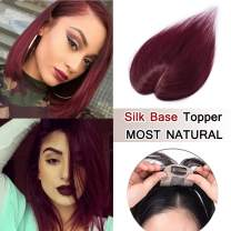 SEGO 100% Density Top Hair Pieces Silk Base Crown Topper Human Hair Clip in Hair Toppers Top Hairpieces for Women with Thinning Hair Gray Hair/Hair Loss 14 Inch #99J Wine Red 23g
