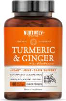 Turmeric Curcumin with BioPerine & Ginger, Black Pepper and 95% Curcuminoids – High Absorption Turmeric Supplements for Joint, Hearth & Inflammatory Health – Non-GMO, Gluten Free - 120 Capsules