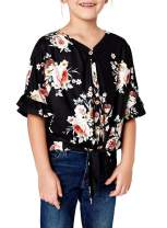 GOSOPIN Girls Bell Sleeve Tunic Tops Floral Knot Button Shirts