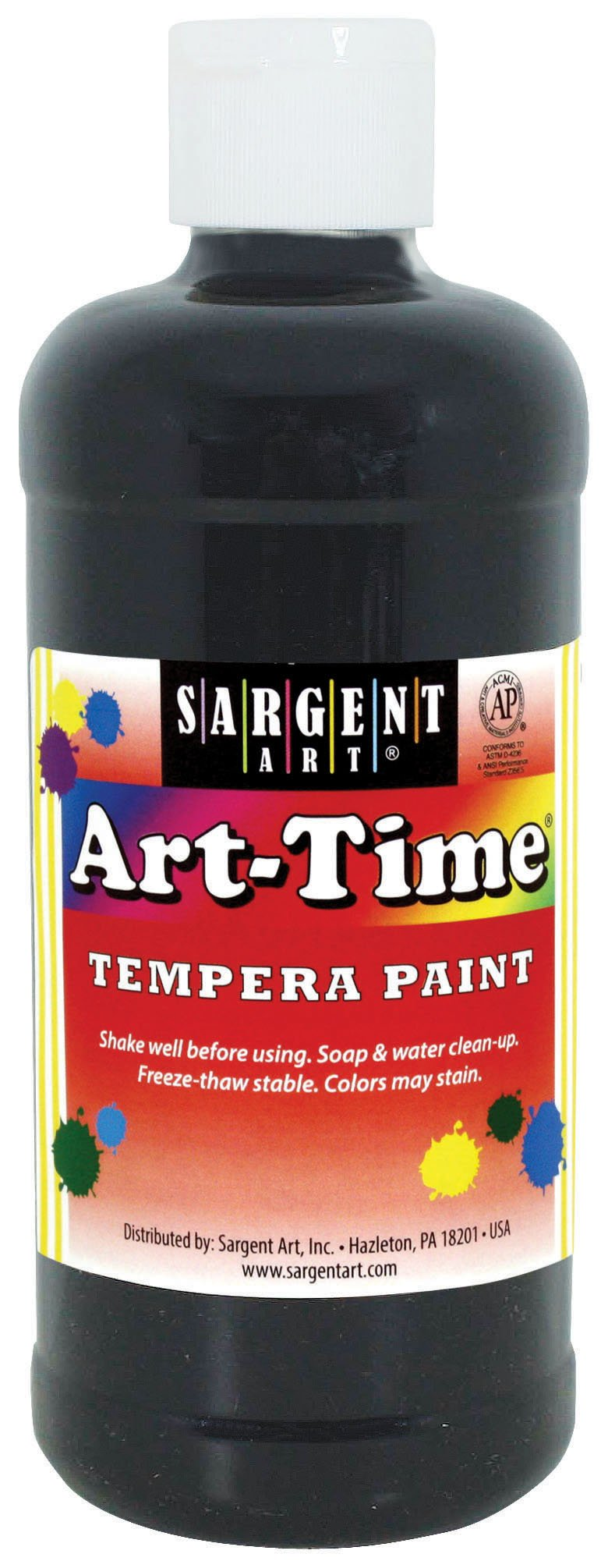 Sargent Art 17-6485 16 oz Black Art-Time Tempera Paint, 16 Fl Oz