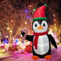 eUty 8 Feet Lighted Inflatable Penguin Decor for Christmas, Party, Indoor, Outdoor, Yard, Garden, Lawn - Holiday Blow Up Big Animal Decoration