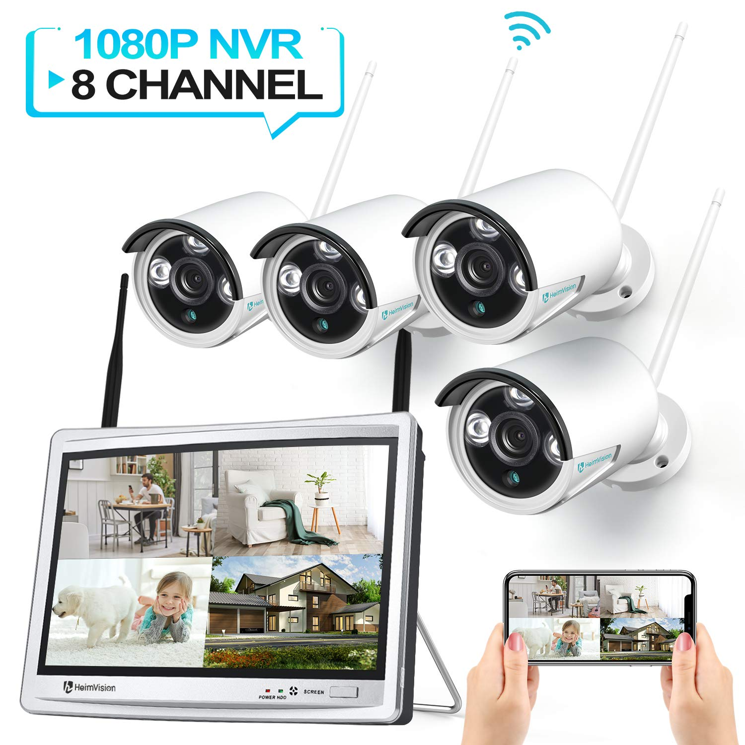 HeimVision HM243 1080P Wireless Security Camera System with 12 inch LCD Monitor, 8CH NVR 4Pcs Outdoor/Indoor WiFi Surveillance Cameras with Night Vision, Waterproof, Motion Detection, No Hard Drive