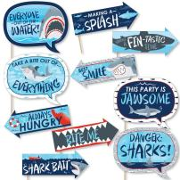 Big Dot of Happiness Funny Shark Zone - Jawsome Shark Viewing Week Party or Birthday Party Photo Booth Props Kit - 10 Piece