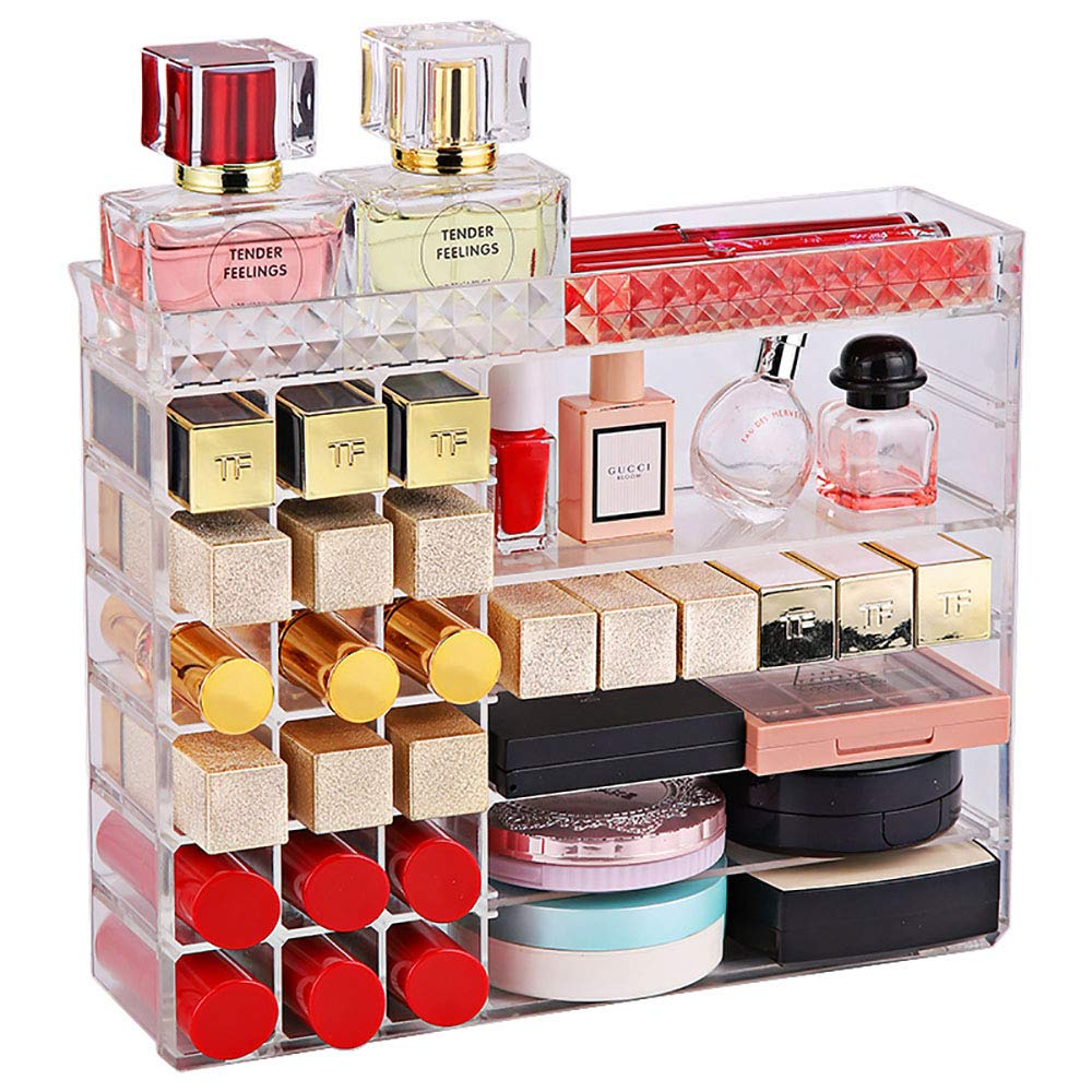 V-HANVER Multifunctional Acrylic Makeup Organizer Holder Countertop Vanity Storage Stand for Lipstick Eyeshadow Palette Perfume and More