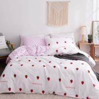 LAMEJOR Duvet Cover Sets King Size Strawberry/Heart Shaped Reversible Soft Sweet Bedding Set Comforter Cover (1 Duvet Cover+2 Pillowcases) White/Pale Pink